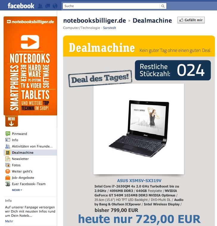 Fallbeispiel Notebooks Billiger bei Facebook