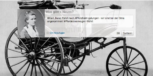 """Berta Benz' """"Twitternachricht"""""""